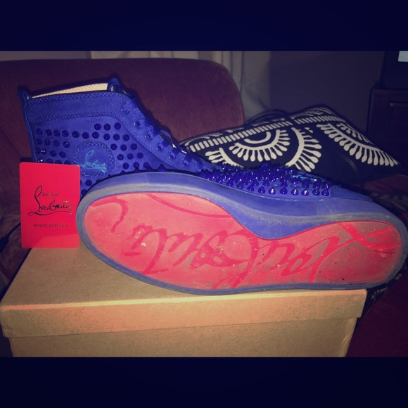 on sale 85ac7 dcfb5 Blue Spiked Red Bottoms